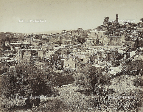 FCC-F-014387-0000 - Panoramic view of Betania, the ancient name of a little village on the eastern side of the Mount of Olives, on the road that goes from Jerusalem to Jericho - Date of photography: 1870 ca. - Fratelli Alinari Museum Collections-Favrod Collection, Florence