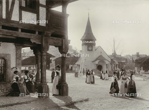 FCC-F-016051-0000 - National exhibition of Geneva: mountain town with women in traditional dress, Switzerland - Data dello scatto: 1896 - Archivi Alinari, Firenze