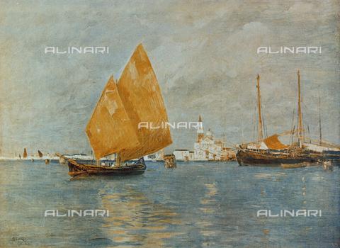 FDC-F-000189-0000 - Marina di San Giorgio; dipinto di Guglielmo Ciardi conservato nella Galleria d'Arte Moderna di Palazzo Pitti, a Firenze