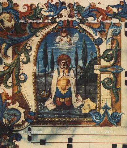 FDC-F-000203-0000 - Il re David in adorazione; miniatura realizzata da Tommaso di Baldassare detto Frate Eustachio, e conservata nel Museo di San Marco a Firenze