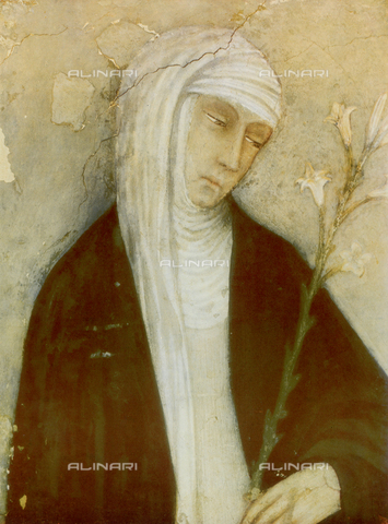 FDC-F-000394-0000 - St. Catherine of Siena, detail, fresco by Andrea Vanni, Chapel of the Vaults, Church of S. Domenico, Siena