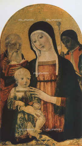 FDC-F-000399-0000 - Madonna and Child and two saints; painting by Francesco di Giorgio Martini, Pinacoteca Nazionale, Siena