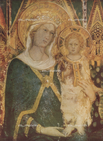 FDC-F-000413-0000 - Madonna with Child, detail of the Majesty, Simone Martini, Room of the Map of the World, Palazzo Pubblico, Siena.