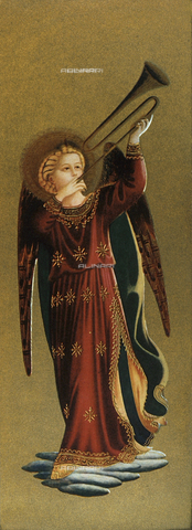 FDC-F-000594-0000 - Musician angel with trumpet, detail of the Tabernacolo dei Linaioli, Museum of San Marco, Florence