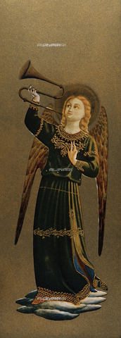 FDC-F-000595-0000 - Musician angel with trumpet, detail of the Tabernacolo dei Linaioli, Museum of San Marco, Florence