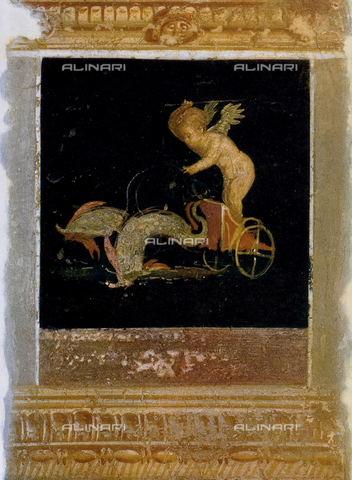 FDC-F-000645-0000 - Cupid driving two dolphins, wall painting, House of the Vettii, archaeological excavations at Pompeii, Pompeii