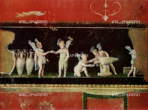 FDC-F-000653-0000 - Vintner Cupids, fresco, House of Vettii, archaeological excavations, Pompeii
