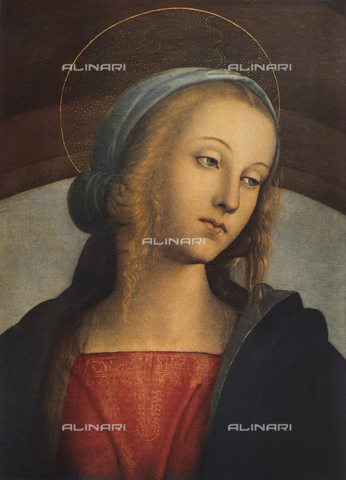 FDC-F-000659-0000 - Madonna and Child with Saints, detail of the face of the Madonna, Galleria degli Uffizi, Florence