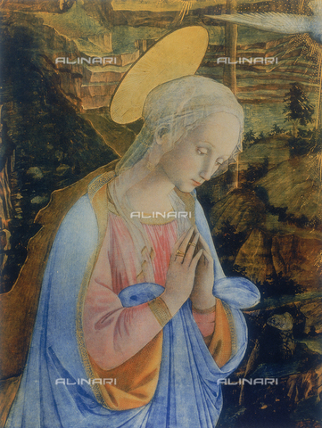 FDC-F-000755-0000 - The Virgin in prayer, detail of the Nativity with the Infant St. John; Uffizi Gallery, Florence