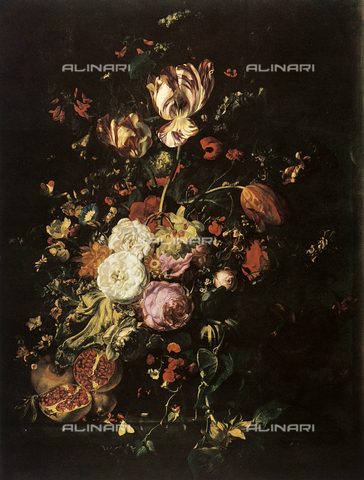 FDC-F-000878-0000 - Still life with flowers and fruit; painting, Palatine Gallery, Palazzo Pitti, Florence