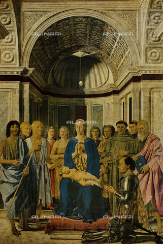 FDC-F-001058-0000 - Conversation with the Holy Virgin and Child with Six Saints, four angels and the donor Federico da Montefeltro (called Pala Pala Montefeltro or Brera), tempera and oil on panel, Piero della Francesca (1416-1492), Pinacoteca di Brera, Milan