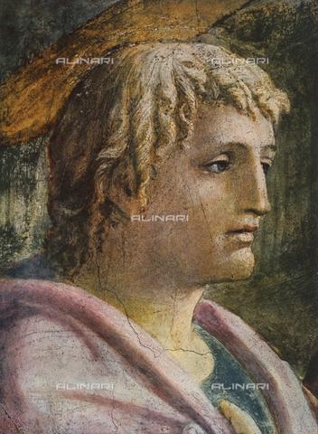 FDC-F-001069-0000 - Il Pagamento del Tributo, particolare con il volto di San Giovanni Evangelista, Cappella Brancacci, chiesa di Santa Maria del Carmine, Firenze