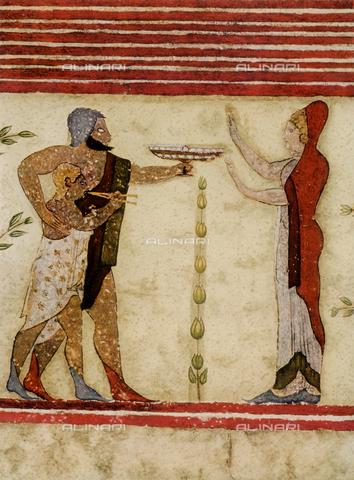 FDC-F-001229-0000 - Scena di commiato, dipinto murale, Tomba del Barone, Tarquinia