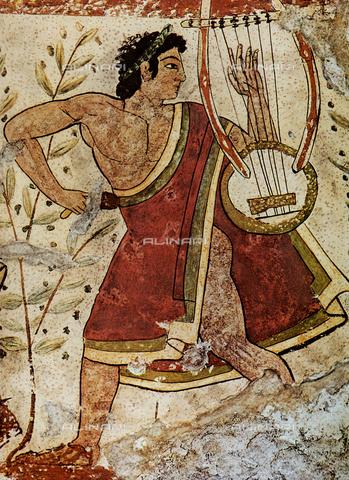 FDC-F-001235-0000 - Citarista, Tomba dei Leopardi, Tarquinia