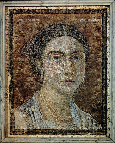 FDC-F-001245-0000 - Female portrait; mosaic from Pompeii, National Archaeological Museum, Naples