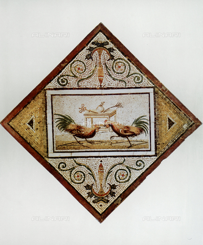 FDC-F-001262-0000 - Cock fight; mosaic from Pompeii, National Archaeological Museum, Naples