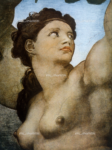 FDC-F-001285-0000 - Eve, detail of Original Sin, part of the Stories of Genesis, Sistine Chapel, Vatican Museums, Vatican