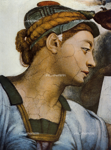 FDC-F-001301-0000 - Eritrean Sibyl, detail of the face. Sistine Chapel, Vatican City