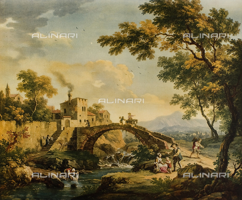 FDC-F-001331-0000 - Landscape with bridge; painting by Vittorio Amedeo Cignaroli. Museo Civico di Arte Antica, Turin