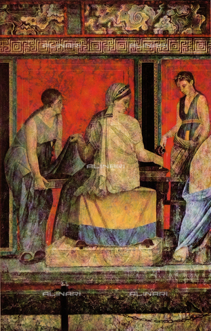 FDC-F-001372-0000 - Libation or lustration; detail of the Second Style frescoes painted on a red background, Villa of Mysteries, Pompeii