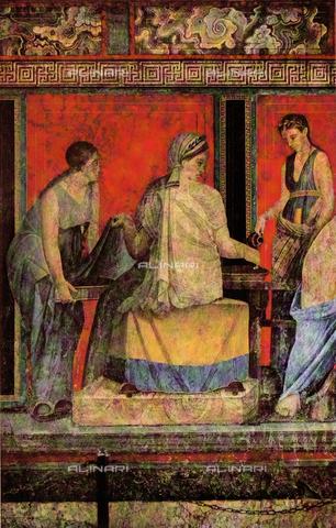 FDC-F-001372-0000 - Lustrazione; particolare degli affreschi su fondo rosso del II stile, Villa dei Misteri, Pompei