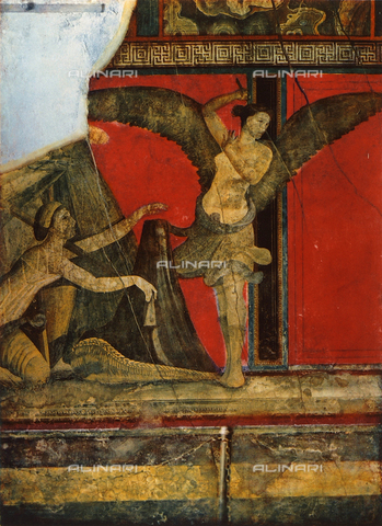 FDC-F-001377-0000 - Unveiling a winnowing basket, or liknon; detail of the Second Style frescoes painted on a red background, Villa of Mysteries, Pompeii