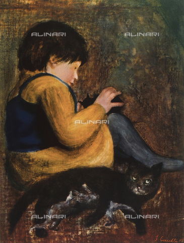 FDC-F-001383-0000 - Gloria and the cat; painting by Silvano Caselli, Sandro Rubboli Collection, Milan