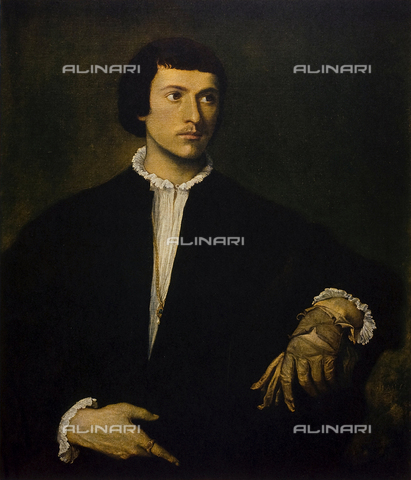 "FDC-F-001421-0000 - ""The Man with glove"", oil on canvas, Titian (said) Vecellio Titian (1485/88-1576), The Louvre Museum, Paris"