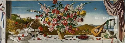 """FDC-F-001435-0000 - Primavera in Toscana, olio su tela, Sciltian Gregorio (1900-1985), fotografata all'interno del transatlantico della Società Italiana Navigazione """"Raffaello"""""""