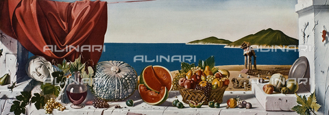 "FDC-F-001436-0000 - The Summer in Sicily, oil on canvas, Sciltian Gregory (1900-1985), photographed inside the liner of the Italian Navigation Company ""Raphael"""