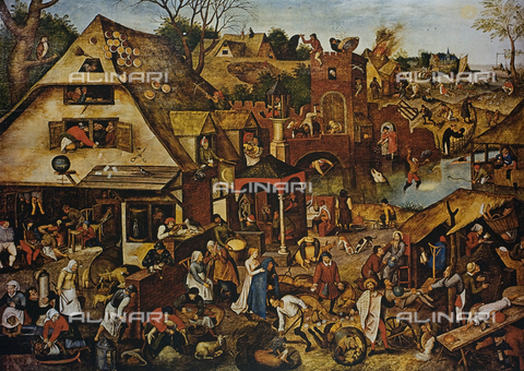 FDC-F-001452-0000 - The Flemish proverbs, oil on panel, Pieter Bruegel the Elder (1525-1569), Gemà¤ldegalerie, Berlin