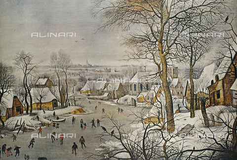 "FDC-F-001453-0000 - Winter Landscape with a Bird-trap, 1565, Copy from an original of Brueghel ""the Elder"", oil on wood, Breugel Pieter The Younger, called ""Hell Bruegel"" (1564-1638), Prado Museum, Madrid"