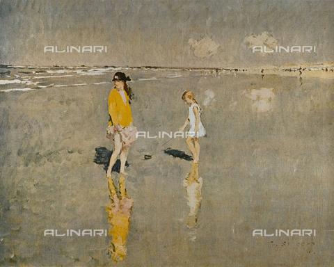 FDC-F-001455-0000 - Bambine sulla spiaggia, olio su tela, Frans Smeers (1873-1960), Collezione FINK, Bruxelles