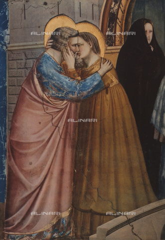 FDC-F-002781-0000 - Meeting at the Golden Gate; detail of the kiss of Gioacchino and Anna. Scrovegni or Arena Chapel, Padua