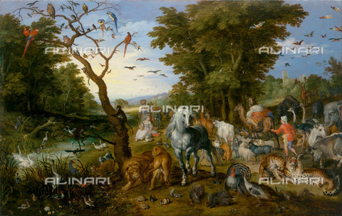FIA-F-042332-0000 - Entry of the animals into the ark of Noah, oil on panel, Brueghel, Jan, the Elder (1568-1625), J. Paul Getty Museum, Los Angeles - Fine Art Images/Alinari Archives, Firenze