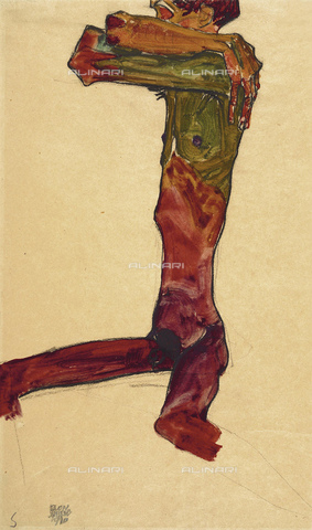 FIA-F-042345-0000 - Male nude, watercolor on paper, Schiele, Egon (1890-1918), Schlossmuseum, Linz - Fine Art Images/Alinari Archives, Firenze