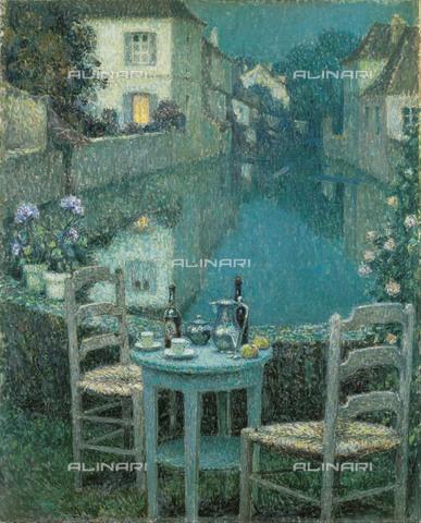 FIA-F-042361-0000 - Piccolo tavolo al tramonto, olio su tela, Le Sidaner, Henri (1862-1939), Ohara Museum of Art, Kurashiki - Fine Art Images/Archivi Alinari, Firenze