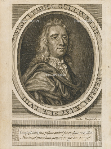 "FIA-F-044250-0000 - Portrait of Irish writer Jonathan Swift (1667-1745), author of ""Gulliver's travels"", engraving, English school, private collection - Fine Art Images/Alinari Archives, Firenze"