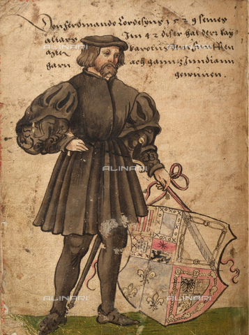"FIA-F-047142-0000 - Portrait of Hernán Cortés, watercolor on parchment, page from the ""Trachtenbuch"" by Christoph Weiditz (1500-1559), Germanisches Nationalmuseum, Nuremberg - Fine Art Images/Alinari Archives, Firenze"
