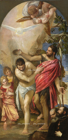 FIA-F-049855-0000 - Baptism of Jesus Christ, oil on canvas, Veronese, known as Paolo Caliari (1528-1588), Church of the Redeemer (Holy Redeemer), Venice - Fine Art Images/Alinari Archives, Firenze