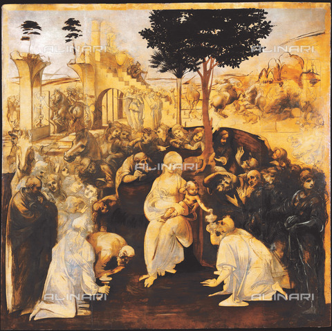 FIA-F-058440-0000 - Adorazione dei Magi (dopo il restauro), tempera su tavola, Leonardo da Vinci (1452-1519), Galleria degli Uffizi, Firenze - Fine Art Images/Archivi Alinari, Firenze