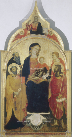 FIN-S-FIA000-0178 - Madonna and Child enthroned among Saints Peter, Anthony Abbot, John the Baptist and Saint Julian the Hospitaller (?); tempera on panel, Master of 1416, Gallery of the Academy, Florence - Reproduced with the permission of Ministero per i Beni e le Attività Culturali / Finsiel/Alinari Archives