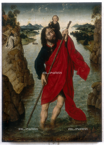 FIN-S-MGE000-0041 - St. Christopher, work by Albrecht Bouts, conserved at the Galleria Estense in Modena - Reproduced with the permission of Ministero per i Beni e le Attività Culturali / Finsiel/Alinari Archives