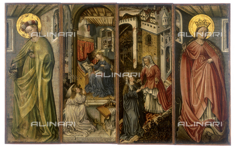 FIN-S-MGE000-0063 - Polyptych depicting St. Margaret, the Annunciation, the Visitation, and St. Dorothy, work by Jos Amman von Ravensburg, conserved at the Galleria Estense in Modena - Reproduced with the permission of Ministero per i Beni e le Attività Culturali / Finsiel/Alinari Archives
