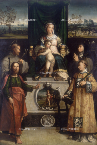 FIN-S-MGE000-0099 - Madonna enthroned with Child and Saints, work of Unknown Artist, conserved at the Galleria Estense in Modena - Reproduced with the permission of Ministero per i Beni e le Attività Culturali / Finsiel/Alinari Archives
