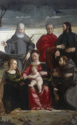 FIN-S-MGE000-0101 - Mystical marriage of St. Catherine with Saints Francis, Clare, Cosma and Damian, work by Gaspare Pagani, conserved at the Galleria Estense in Modena - Reproduced with the permission of Ministero per i Beni e le Attività Culturali / Finsiel/Alinari Archives