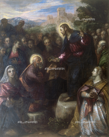 FIN-S-MGE000-0132 - Christ gives the keys to St. Peter, work by Domenico Robusti, also known as Tintoretto, conserved at the Galleria Estense in Modena - Reproduced with the permission of Ministero per i Beni e le Attività Culturali / Finsiel/Alinari Archives