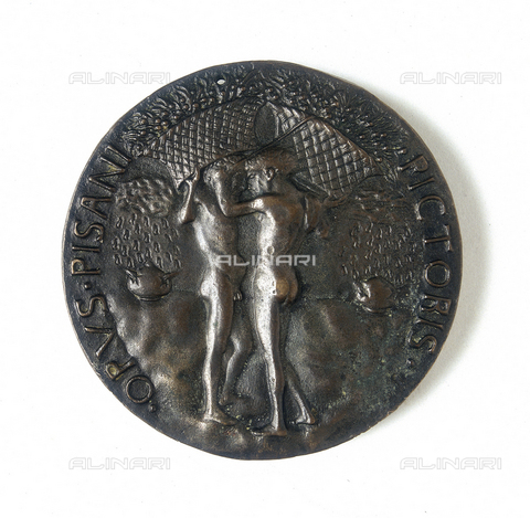 "FIN-S-MGE000-355B - Medal depicting Leonello d'Este: verso, work by Antonio Pisano, also known as ""il Pisanello"", conserved at the Galleria Estense in Modena - Reproduced with the permission of Ministero per i Beni e le Attività Culturali / Finsiel/Alinari Archives"