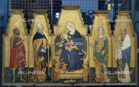 FIN-S-PG0000-0057 - Polyptych depicting the Madonna with Child and Saints, 1410-1415, tempera on panel, 119.5x201 cm, Lello da Velletri, Galleria Nazionale dell'Umbria, Perugia - Reproduced with the permission of Ministero per i Beni e le Attività Culturali / Finsiel/Alinari Archives