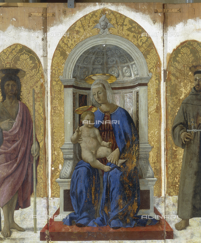 FIN-S-PG0000-072B - Madonna and Child, Central Panel of Polyptych of St. Anthony, tempera on panel, Piero della Francesca (1416-1492), National Gallery of Umbria, Perugia - Reproduced with the permission of Ministero per i Beni e le Attività Culturali / Finsiel/Alinari Archives